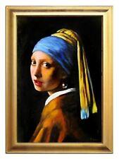 Jan Vermeer-Das Mädchen mit dem Perlenohrring-105x75cm-Ölgemälde mit Rahmen-G052