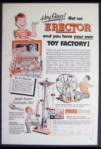 1952 Gilbert Erector Set Ad *Hey Gang! Get an Erector* vintage Original
