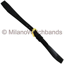 13mm Hirsch Rainbow Lizard Grain Black Flat Open Ended Ladies Watch Band Short