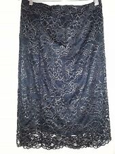 Black GOLD Metallic lined floral Lace party season celebration pull on SKIRT 22