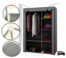 Portable Wardrobe Storage Organizer with Shelves Clothes Closet Canvas Grey