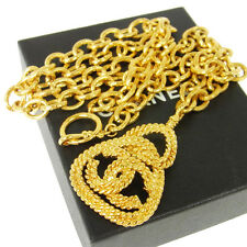 Authentic CHANEL Vintage CC Logos Gold Chain Pendant Necklace France V00526