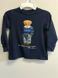 Excellent Polo Ralph Lauren Boys Size 4T T-shirt Rugby Bear Navy long Sleeve Tee