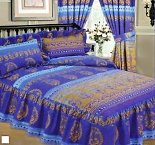 DOUBLE BED EXOTIC KASHMIR BLUE GOLD & INDIGO QUILTED BEDSPREAD THROW OVER SET