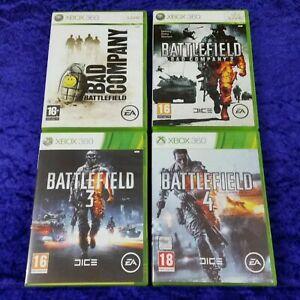 xbox 360 BATTLEFIELD x4 Games BAD COMPANY 1 + 2 + 3 +4 PAL UK Versions
