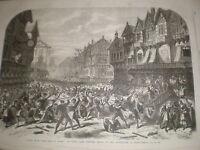 Scene from play King O' Scots Drury Lane Theatre London 1868 print  Ref W1