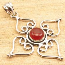 "Real CARNELIAN Red Stone ARTISAN Pendant 2 "" ! Silver Plated HANDMADE Jewellery"