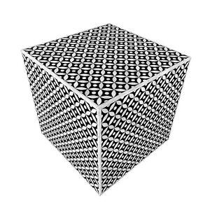 Bone Inlay Square Geometrical Side Table