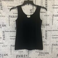 Chicos Womens Shirt Solid Black Sleeveless Stretch Size 0/Small