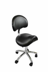 Salon Saddle Chair with Back Rest & Chrome Base - Black