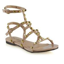 Womens Rivet Buckle Flat Sandals Ladies Open Toe Buckle Gladiator Shoes Size 3-8