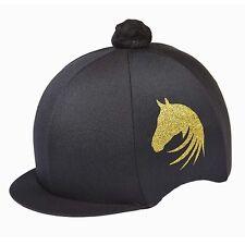 LYCRA RIDING HAT SILK FOR JOCKEY SKULL CAPS GOLD HORSE HEAD BLACK PURPLE PINK