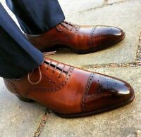 HIGH QUALITY MEN-Handmade Brogue Oxford shoes Men Brown Dress shoes-LEATHER SOLE