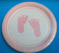 Baby Shower Girl Pink Foot Print Round Paper Plates 8 CT 6 7/8in. Celebrations