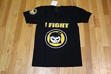"FIGHTER GIRLS BLACK YELLOW WHITE COTTON ""I FIGHT"" V-NECK T-SHIRT SIZE MEDIUM NWT"
