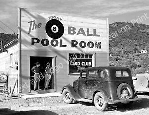 "1940 Shasta Cty., CA Pool Hall Vintage Photograph 8.5"" x 11"" Repro Billiards"