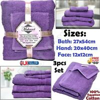 3pc Face, Hand & Bath Bathroom Towels Set Bale Luxury 100% Egyptian Cotton Towel