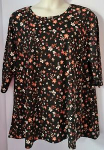 LADIES FLORAL DAISY PRINT FLARED TUNIC TOP PLUS SIZE 28