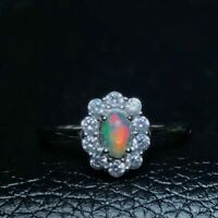 Vintage Fire Opal Pearl Ring 925 Sterling Silver Women's Engagement Jewelry ⭐