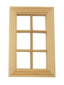 Fenster aus Holz flach für Krippe oder Puppenhaus, naturbelassen, 78x120 mm