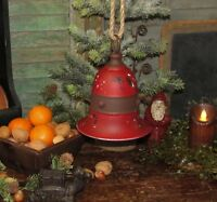 "Primitive Antique Vtg Style Med 7"" Red Christmas Hanging Tin Metal Jingle Bell"