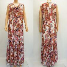 ECI Womens Floral Print Chiffon Overlay Maxi Long Dress White Red Pink L $70
