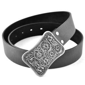 Mens Belts Jeans Black Leather Belt Western Celtic Rectangle Belt Buckle Metal