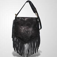 Genuine Leather Schultertasche Wildleder Umhänge Tasche Handtasche Schwarz