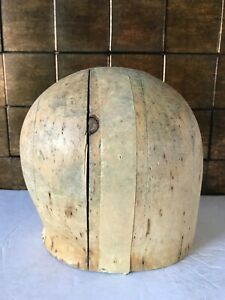 "Superb Wood Wooden Hat Block Head Style Form Display  Mold Millinery 19"" inches"