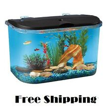 Acrylic Desktop Fish Tank Aquarium Filter Starter Kit 5 Gallon LED Lights Round