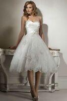 New White ivory Lace Short Bridal Gown Wedding Dress Size UK 6-8-10-12-14-16-18