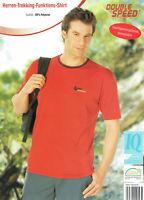 Herren Trekking Funktions Shirt Rot T-Shirt atmungsaktiv