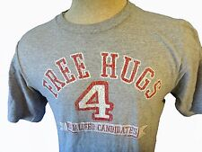FREE HUGS Grey tee shirt t hippy vegan sign small 34 36