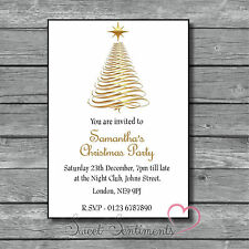 Personalised Gold Tree Christmas Or Birthday Kids Adults Party Invite - Pk 10