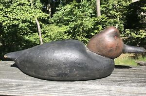 Vintage Hollow Carved Wood Canvasback Fat Jaw Duck Decoy Low Snuggle Head Form