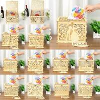 DIY Wedding Gift Card Box Wooden Money Box with Lock Box Kit Party Decor Gift