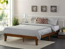 Solid King Size Wood Frame Bed Platform Modern Set 4 Mattress - No Headboard