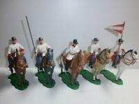 Konvolut 5 alte Elastolin Kunststoff Soldaten Österreicher Reiter zu 7.5cm