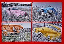 Set of 4 NEW Postcards, Abandoned 1950s American Packard 4 Door Saloon Z45