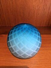 Art Glass Paperweight Vintage Hand blown Blue Opaque White