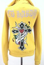 EUC $200 ED HARDY WOMEN'S jacket Zip Up  Hoodie YELLOW Embellished CROSS Heart S