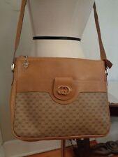 GUCCI vintage 80's camel leather signature logo messenger bag large Italy