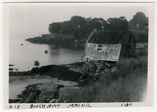 1939 BOOTHBAY MAINE Photograph PHOTO Harbor SHACK Boats LINCOLN COUNTY Me