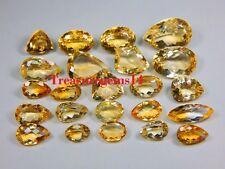 100 CT WHOLESALE LOT NATURAL GOLDEN TOPAZ CITRINE VVS CUT FACETED CABOCHON GEMS