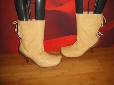 *18* SUPERB DIESEL TREACLE CAMEL LEATHER SLOUCH ANKLE BOOTS EU 38