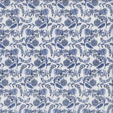 Pretty Navy Blue Flowers Leaves on White Quilting Fabric FQ or Metre *New*