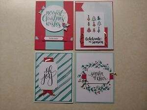 4 Handmade WATERCOLOR CHRISTMAS cards, -Stampin Up!-CLEARANCE!