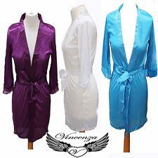 Women plain Satin Robes Bridal Wedding Bridesmaid Bride Gown kimono robe