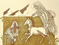ZUZANA DUBOVSKA 2008 HORSE BUFFALO EAGLE PORTRAIT FIGURE STUDY BLOCK PRINT 14/14
