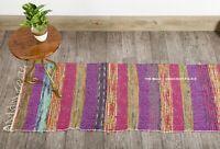 2x7' FT Cotton Rag Rug Multi Chindi Indian Handmade Long Area Rug Living Room